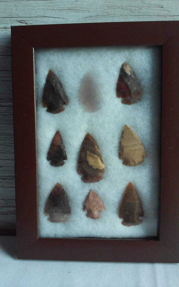 Vintage Collage of 9 Native American Indian Arrowheads.  Nicely framed set.  An Instant Collection.  Easy to Mount in Your Own Home.