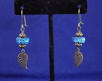 Blue druzy on antique bronze earrings
