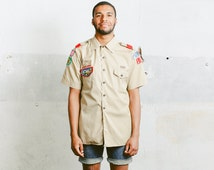Vintage Boy Scouts of America SHIRT . Mens Cotton Summer Patched Shirt 1960s Normcore 70s Retro Top Brown White Unisex . Large