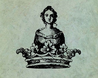Woman in a Crown - Antique Style Clear Stamp