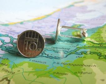 Netherlands Dutch dime coin cufflinks jewelry in birth year 1980 - 1982 - 1983 - 1984 - 1985 - 1986 - 1987 - 1988 - 1989