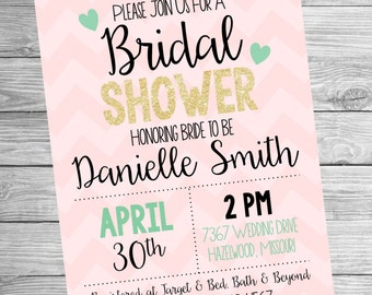 Bridal Shower Invitation - Pink and Mint