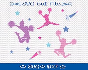 Cheerleader SVG File / Silhouette Cameo / Vinyl Cutting File / Cheerleading SVG / Cheer Squad / Cheer Mom /  Cheer Svg