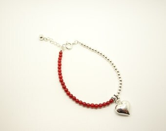 Beatiful Beaded Coral and Silver Extending Bracelet with Heart Charm