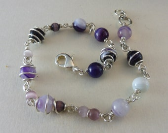 "Bracelet with Purple Agate and Cat-Eye Beads - ""Rarity"""