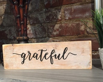 grateful,wood decor,Painted Typography sign,Inspirational sign,Southern saying,wood art,wood sign saying,shelf wood sign