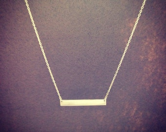 "Sterling Silver Bar Necklace ID Name Plate Pendant Thin 18"" Chain"