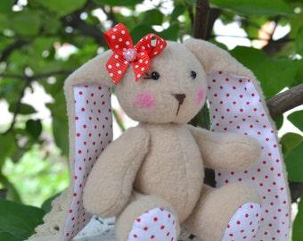 Rag Bunny rabbit handmade Bunny rabbit soft fleece for the interior of the nursery for a Christmas gift birthday.