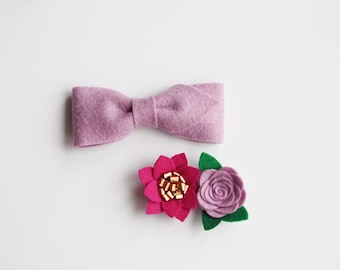 Lilac Felt Bowtie and Headband/Clip Sibling Set // easter brother sister set