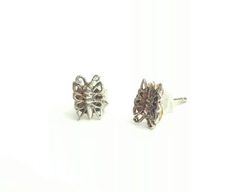 Petite Vintage Sterling Silver Butterfly Stud Earrings