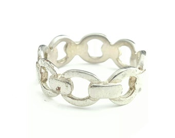 Vintage Sterling Silver Circular Chain Link Pattern Ring- Size 7.5