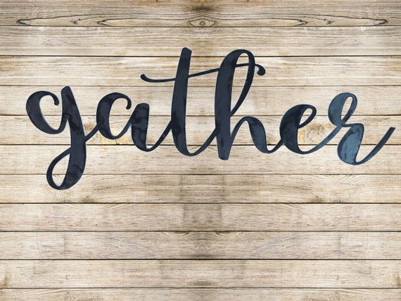 Gather sign metal wall art sign for dining room modern for Dining room metal wall art