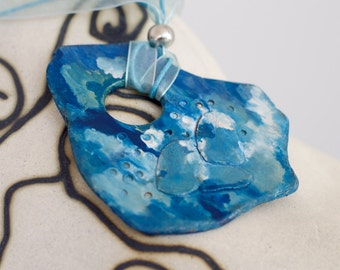 """Sky & clouds"" ceramic necklace - C004"