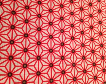 50x80 cm- Japanese fabric pattern Red & white stars ASANOHA  100% cotton