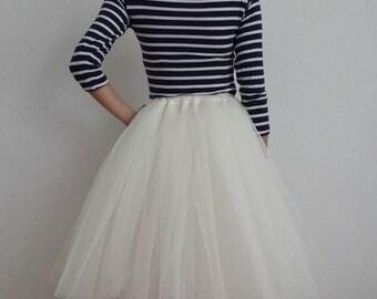 Tulle skirt cream 60 cm length skirt petticoat