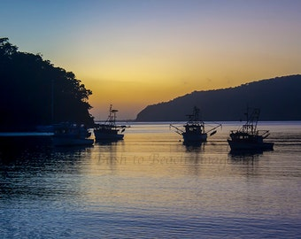 Fishing Boats at Sunrise, Landscape Photography