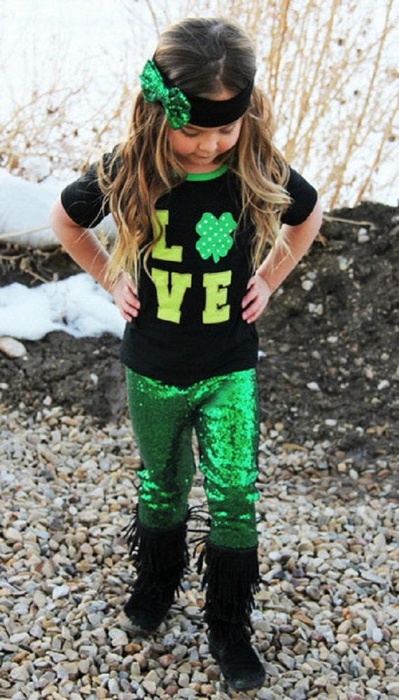 ce6f246755c91 Girl's St. Patrick's Day Outfit, Love Shamrock Applique Outfit, Sequin  Leggings, Toddler