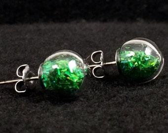 Green Tinsel Glitter in Round Blown Glass titanium stud earrings
