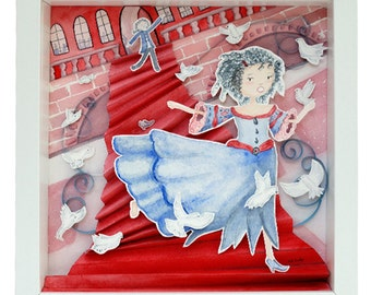 "Table Watercolour embossed - ""Cinderella"" - framed original Illustration"