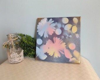 """Gold Floral Abstract Spray Paint and Picture Display 10""""x10"""""""