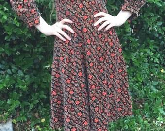 Vintage Velvet Little House on the Prairie Style Dress
