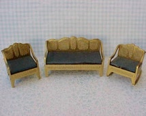 Darling Vintage 3 Piece Tootsie Toy Doll House Sofa and Chairs Set
