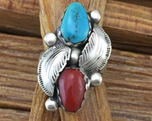 Simplicio Zuni Turquoise Red Coral Sterling Ring Size 6.5 925 Silver Feather Southwestern Vintage Jewelry Birthday Native American Boho Gift