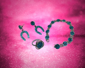 Pandora Turquoise Jewelry Set - Bracelet, Earrings, and Ring