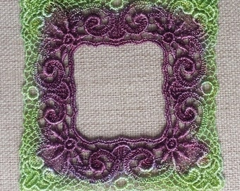 hand dyed venise lace frame applique violet and lime green motif picture frame for journals, scrapbooking, quilting