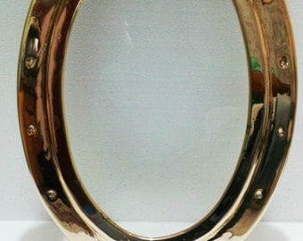 Nautical ship/ferry/tug boat/york boat brass oval port hole / window ring with glass