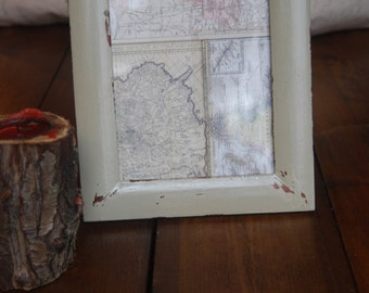 Upcycled, distressed photo frame