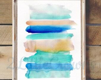 Abstract Watercolor Painting Print Instant Download Blue Stripes Abstract Original Art Printable Coastal Decor Minimal Art Modern Art Print