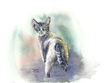 Cat. Print of animal watercolor painting. Home decor, office decor, or greeting card.