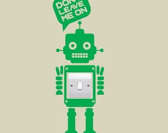 Robot Light switch decal - Robot vinyl sticker, Available in 25 colours