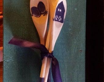 Natural and Blue Barnyard Wooden Spoons