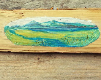 Hand Painted Wall Hanging Mountain Scene