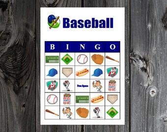 Baseball Bingo 30 Printable Sports Birthday / Super Bowl Party Bingo Game Cards