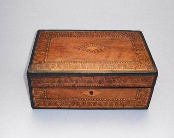 Victorian Tunbridge Ware Box - (jewellery case, inlaid, keepsake)