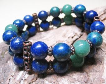Boho Bracelet Ethnic Bracelet Lapis Lazuli Bracelet Azurite Bracelet Aventurine Bracelet Chakra Bracelet Gemstone Jewelry FREE SHIPPING