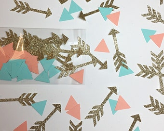 Arrow confetti.  Tribal confetti.  Gold glitter arrow confetti.  Birthday confetti.  Girl Birthday confetti.  Party decorations.  Tribal