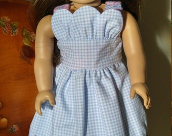 Doll Clothes, 18 inch doll clothes, blue, pink flowers, blue gingham pinafore, pink ribbon