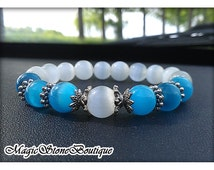 FREE SHIPPING, White Mexican Opal, Cat's eyes beads bracelet, dust plug, opal jewelry, white stone jewelry, blue stone jewelry