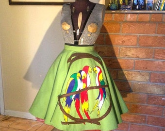 Tiki Room- 1950s Style 100% Cotton Twill Full Circle Skirt with Handmade Felt Applique