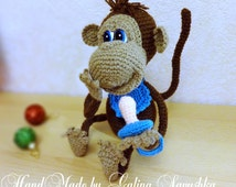Crochet Monkey, gift Valentines day, Gift for her-amigurumi Monkey, Soft Toy Monkey, Plush Monkey, Soft Toy Crochet,  Knitted monkey