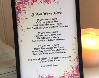 Poetry Art, If You Were Here 5x7 Poem Print by Michelle Spray, NO Frame