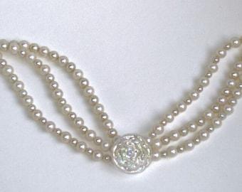 GJ Emily vintage style faux pearl multistrand bracelet
