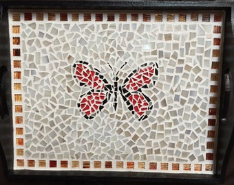 Butterfly Mosaic Decorative Serving Tray