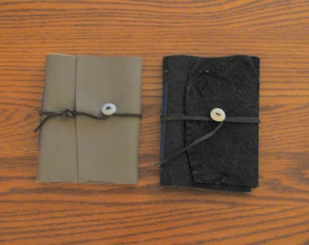 Small Leather Journal with Stone Button