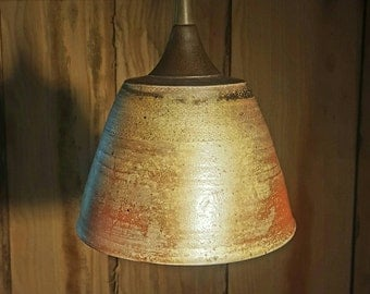 Rustic Industrial Pendant Lighting- Wood Fired Ceramic Pendant Light- Natural Ash Glaze Rustic Farm Light- FREE SHIPPING!