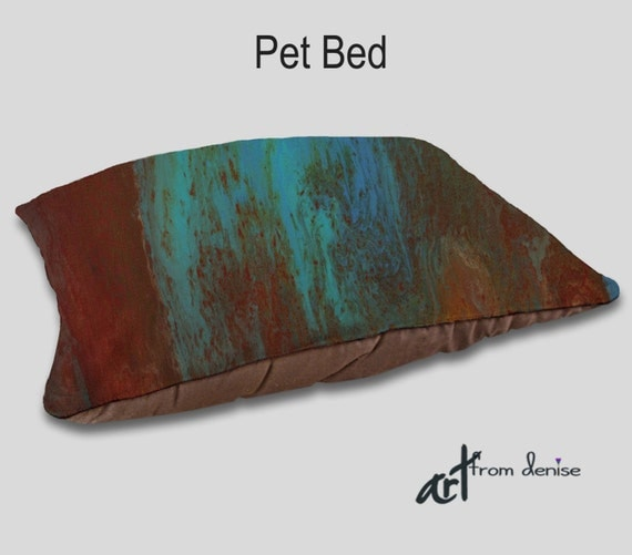 Dog bed Designer Pet bed Pet pillows Red turquoise teal